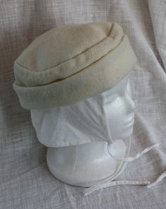 Hand Sewn Medieval Hat Set: Ivory White Wool Cap and Linen Coif