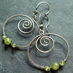 Other – Sterling Silver EarringsPeridot Spiral – a unique product by NaturalJewels on DaWanda