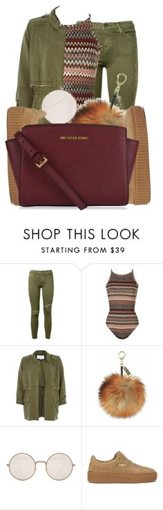 """""""green light"""" by beautiful-image ❤ liked on Polyvore featuring Current/Elliott, Topshop, River Island, Illesteva, Puma and MICHAEL Michael Kors"""