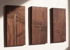 Power Poles Triptych Walnut by DMWR on Etsy. - Serarslan Kaligrafi - - Power Poles Triptych Walnut by DMWR on Etsy. Wooden Art, Wood Wall Art, Woodworking Plans, Woodworking Projects, Woodworking Basics, Wc Decoration, Wood Design, Wood Carving, Carving Tools