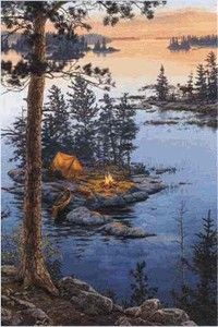 On Higher Ground sports and leisure camping lithograph on canvas by Darrell Bush