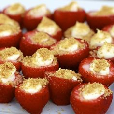 Cheesecake stuffed Strawberries. I think these would be even better dipped in chocolate! #favorites