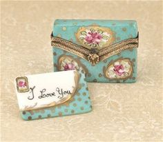 Limoges Turquoise Letter with Envelope Box