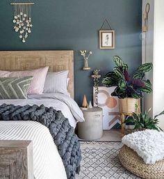 What a stunning bedroom by using 🎨Inchyra Blue by 😍 Stunning! Grey Green Bedrooms, Green Master Bedroom, Blue Gray Bedroom, Blue Bedroom Decor, Bedroom Wall Colors, Master Bedroom Makeover, Bedroom Color Schemes, Green Rooms, Home Bedroom