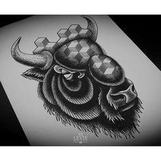 European bison, symbol of my motherland. Collaboration piece for European Bison, Wild Tattoo, Small Tattoos, Tatting, Skull, Symbols, Ink, Collaboration, Instagram Posts