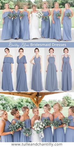 dusty blue wedding color ideas with bridesmaid dresses 2019 from Tulle & Chantilly #wedding #weddinginspiration #bridesmaids #bridesmaiddress #bridalparty #maidofhonor #weddingideas #weddingcolors #tulleandchantilly