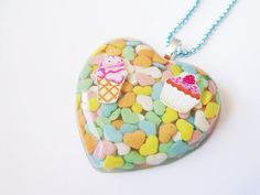 Kawaii Candy Resin Heart Necklace by CapricaAccessories on Etsy, $20.00