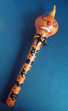 folk art HALLOWEEN PUMPKIN BATON staff scepter rattle artist sign TONI McCORKLE