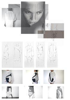 Fashion Sketchbook - geometric fashion design, research & garment sketches; fashion portfolio // Laura Fornetran