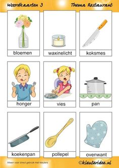 Woordkaarten 3 voor kleuters, thema restaurant, juf Petra van kleuteridee.nl, free printable. Restaurant Themes, Fast Food Restaurant, Germany Language, Learn Dutch, Dutch Language, School Items, Creative Teaching, Working With Children, Pre School