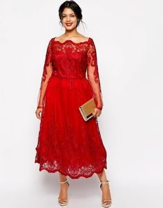 Red Plus Size Dresses Cheap Long Sleeves Lace Applique Tea Length Evening Gowns Special Occasion Prom Dress Tea Length Formal Dresses, Plus Size Wedding Dresses With Sleeves, Mother Of The Bride Dresses Long, Plus Size Cocktail Dresses, Evening Dresses With Sleeves, Evening Dresses Plus Size, Plus Size Dresses, Plus Size Outfits, Evening Gowns