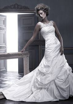 Illusion Back Sheer Beaded Illusion Neckline A line Taffeta Chapel Train Wedding Dress - 1300103818B - US$299.99 - BellasDress