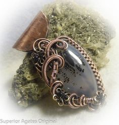 Montana Agate Wire Wrapped Antique Copper Stone by superioragates, $65.00
