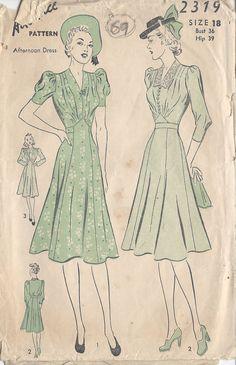 "1940s Vintage Sewing Pattern DRESS B36"" (69) in Crafts, Sewing, Sewing Patterns | eBay! 60s Fashion Trends, 1940s Fashion, Look Fashion, Vintage Fashion, Club Fashion, Fashion 2018, Gothic Fashion, Victorian Fashion, Dress Making Patterns"