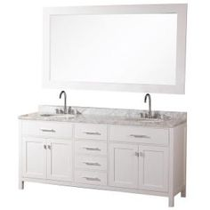 Design Element, London 72 in. Vanity in Pearl White with Marble Vanity Top and Mirror in Carrera White, DEC076B-W at The Home Depot - Mobile