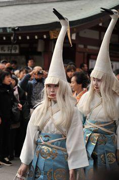 Japanese egret dancers at the Festival of the Ages (Jidai Matsuri).