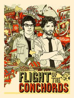 """""""This show is just hilarious. If you like funny things and think Australia is probably trying to kill you, you will like Flight of the Conchords. Rock Posters, Band Posters, Concert Posters, Movie Posters, Gig Poster, Flight Of The Conchords, Cinema, Graphic Design Illustration, Retro Illustration"""