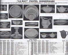 Lu-Ray Pastels -- Dinnerware Ad from 1940