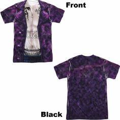 """Suicide Squad Joker Costume Adult Tee - Front and Back Print - Officially Licensed - High Quality - Front and Back Print - 100% Polyester / Fabric Weight 4.5 oz. - Rib Knit 3/4"""" Collar - Wicking Prope"""
