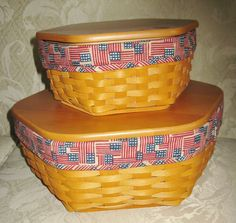 Longaberger 2 Generations Baskets with Flag Liners Protectors and Wood Lid Lot | eBay