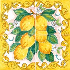 Yellow Baroque Lemons is a Hand Painted panel of ceramic tiles 40x40 cm, approx. 16x16 inches.  The collage consists of 4 tiles at 20x20cm, 8x8 inches.  The beautiful Yellow Baroque Lemons has been hand painted into one collage on ceramic tiles that will make your home more unique. Our Ceramic Glazed Tiles are traditionally used to cover walls where they are used in finishing kitchens, bathrooms, benches, decorative panels, floor applications, pools, fountains, fireplaces, table top…
