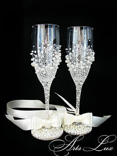 Personalized Wedding champagne glasses in ivory by ArtsLux on Etsy, $50.00
