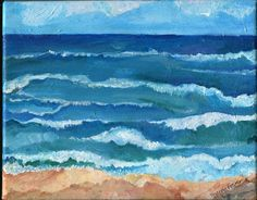Seascape Original painting Ocean ART Horizontal by SharonFosterArt, $65.00