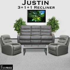Justin Recliners are easy on the pocket but heavy in features. These recliners are crafted with leather air. Leather air is an artificial leather pasted on a thick fabric which increases the durability and is more breathable as compared to others. Ultra-cushioned seats and recliner give you the most comfortable feeling.