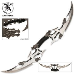 Six Dragon Head Double Blade Sword Fantasy Zombie Apocalypse Revelations Black Armas Ninja, Ninja Weapons, Anime Weapons, Unique Knives, Cool Knives, Fantasy Sword, Fantasy Weapons, Fantasy Armor, Swords And Daggers