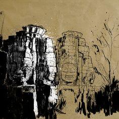 Angkor Wat IV, Ink on paper, 2014 #angkor #wat #angkorwat #siem #reap #siemreap #cambodia #khmer #temple #architecture #ink #brush #drawing #painting #art