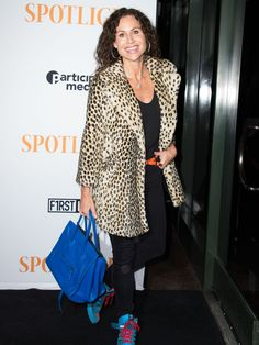 """Minnie Driver looks all leopardy at the """"Spotlight"""" screening, Tuesday.  Valerie Macon, AFP/Getty Images"""