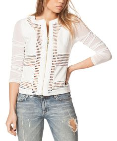 Another great find on #zulily! Carmin White Sheer Open-Knit Zip-Up Jacket by Carmin #zulilyfinds