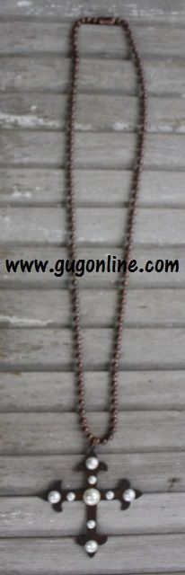 Long Rust Metal Cross With Pearls Necklace www.gugonline.com $29.95