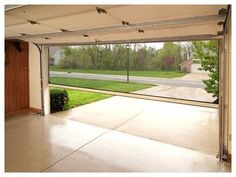 Retractable screen door on garage door. Great idea!