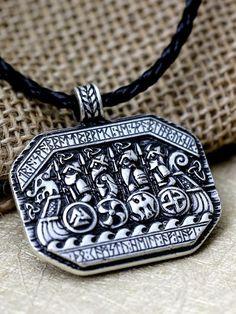 Legendary Viking Ship and Soldeer Battlefield Nordic Talisman Amulet Necklace