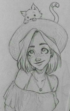 Girl Drawing Sketches, Art Drawings Sketches Simple, Pencil Art Drawings, Easy Drawings, Drawing Ideas, Drawings Of People Easy, Easy Cartoon Drawings, Pretty Drawings, Anime Girl Drawings