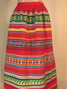 Vintage Seminole Patchwork Skirt Six Rows Multi-Color All Cotton Size 26w 41Lth #Unbranded