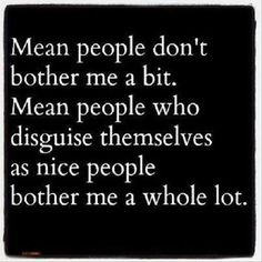 Mean people don't bother mea bit. Mean people who disguise themselves as nice people bother me a whole lot.