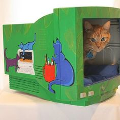 Make a Cat Bed from a Computer Monitor   #catbeds #tutorial #instructables