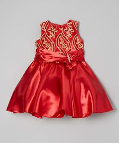 Look what I found on #zulily! Red & Gold Floral Sequin Dress - Toddler & Girls #zulilyfinds