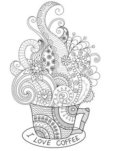 i love coffee adult coloring page you can print for free Davlin Publishing #adultcoloring