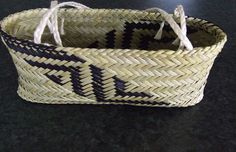 Kete Taonga - Traditionally dyed & hand woven, with muka handles