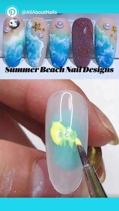 Beach Nail Art, Beach Nail Designs, Cute Summer Nail Designs, Cute Summer Nails, Pretty Nail Designs, Sea Nails, Blue Nails, Water Color Nails, Nails Design With Rhinestones