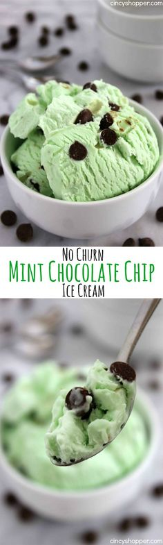 No Churn Mint Chocolate Chip Ice Cream- Just a couple of ingredients and a few minutes time. No ice cream maker is needed to make this minty chocolate chip goodness.