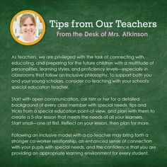 As teachers, we are privileged with the task of connecting with,educating, and preparing for the future children with a multitude ofpersonalities, learning styles, and proficiency levels—especially inclassrooms that follow an inclusive philosophy. To support both youand your young scholars, consider co-teaching with your school'sspecial education teacher.