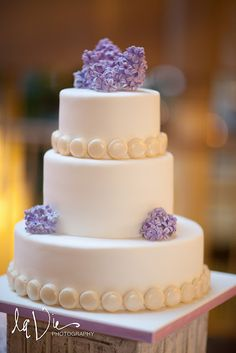 lilac and lavender reception filled with lovely florals and a custom Cocoa & Fig mini dessert table - the cake