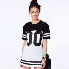 Girl Fashion Style Women Tee Baseball Letter Number Printed T-Shirt Dress