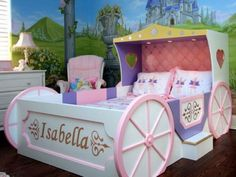 Girls Bedroom with Castle Wall Mural