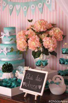 O delicado Chá da Anne #bridalshower #pinkandblue #tiffany #Detalhes #chadelingerie #meninasanta #superdicas