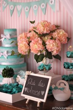 O delicado Chá da Anne #bridalshower #pinkandblue #tiffany